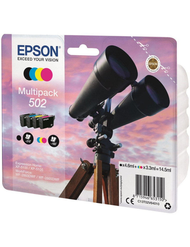 Multipack Cartucce Originali Epson T02V640 502 (Nero, Ciano, Magenta, Giallo Conf. 4)