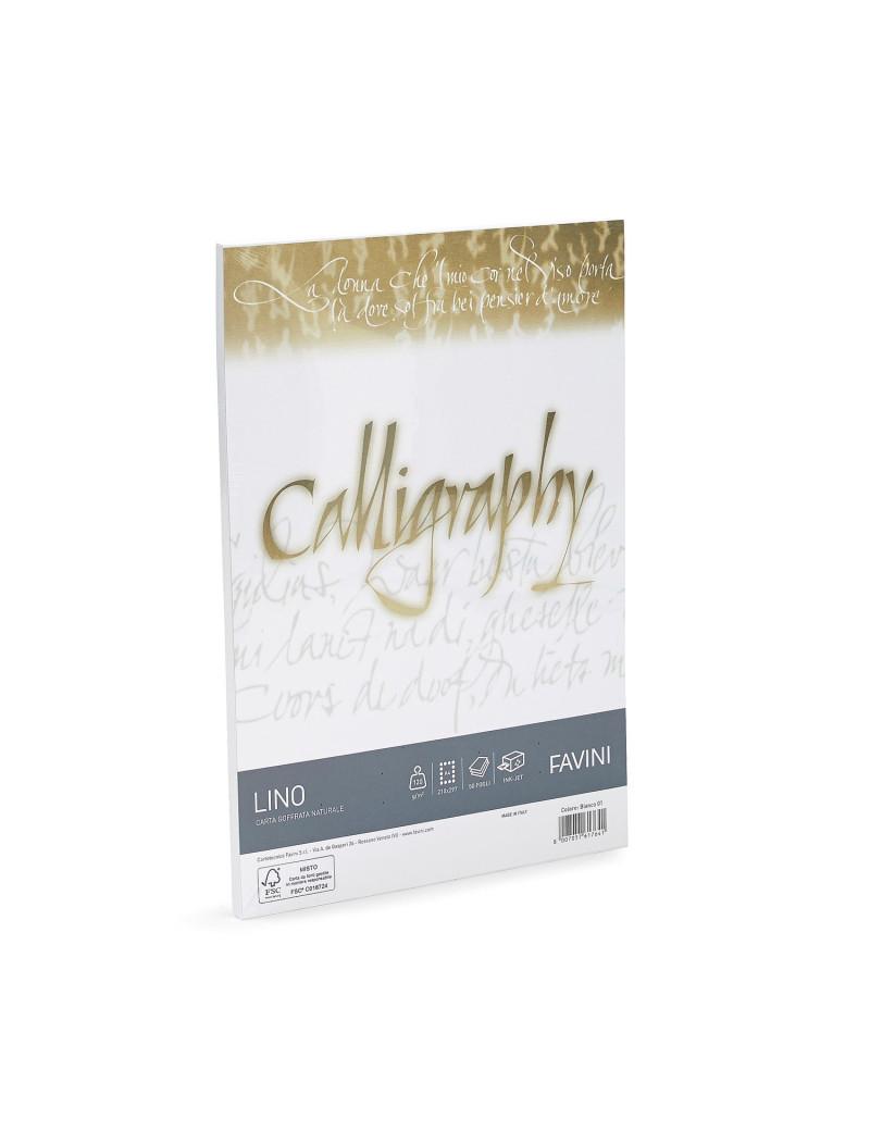 Carta Calligraphy Effetto Lino Favini - A4 - 120 g - A690514 (Bianco Conf. 50)