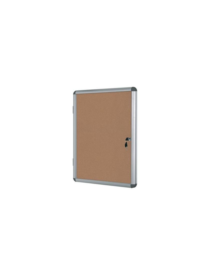 Bacheca in Sughero per Interni Enclore Bi-Office - 6xA4 - 72x67,4 cm (Argento)