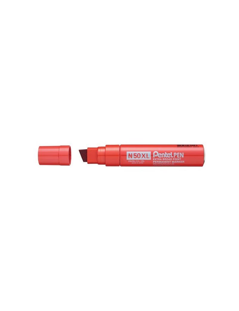 Marcatore Permanente N50 Extra Large Pentel - Punta Scalpello - 1,7 mm (Rosso)
