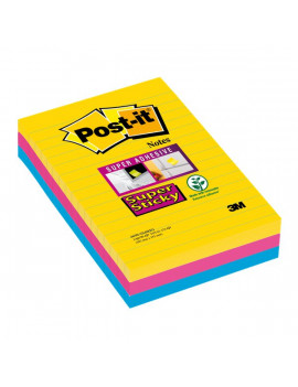 Post-it Super Sticky Formato XXL a Righe 3M - 101x152 mm (Assortiti Conf. 3)