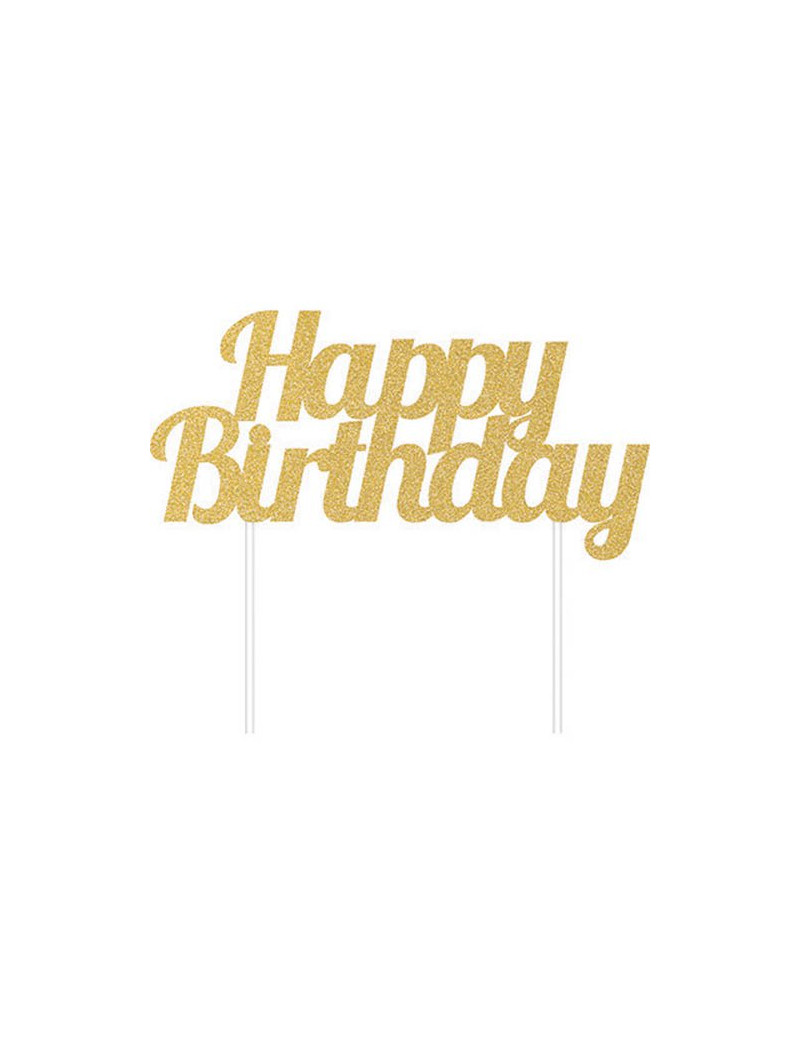 Cake Topper Happy Birthday (Oro)