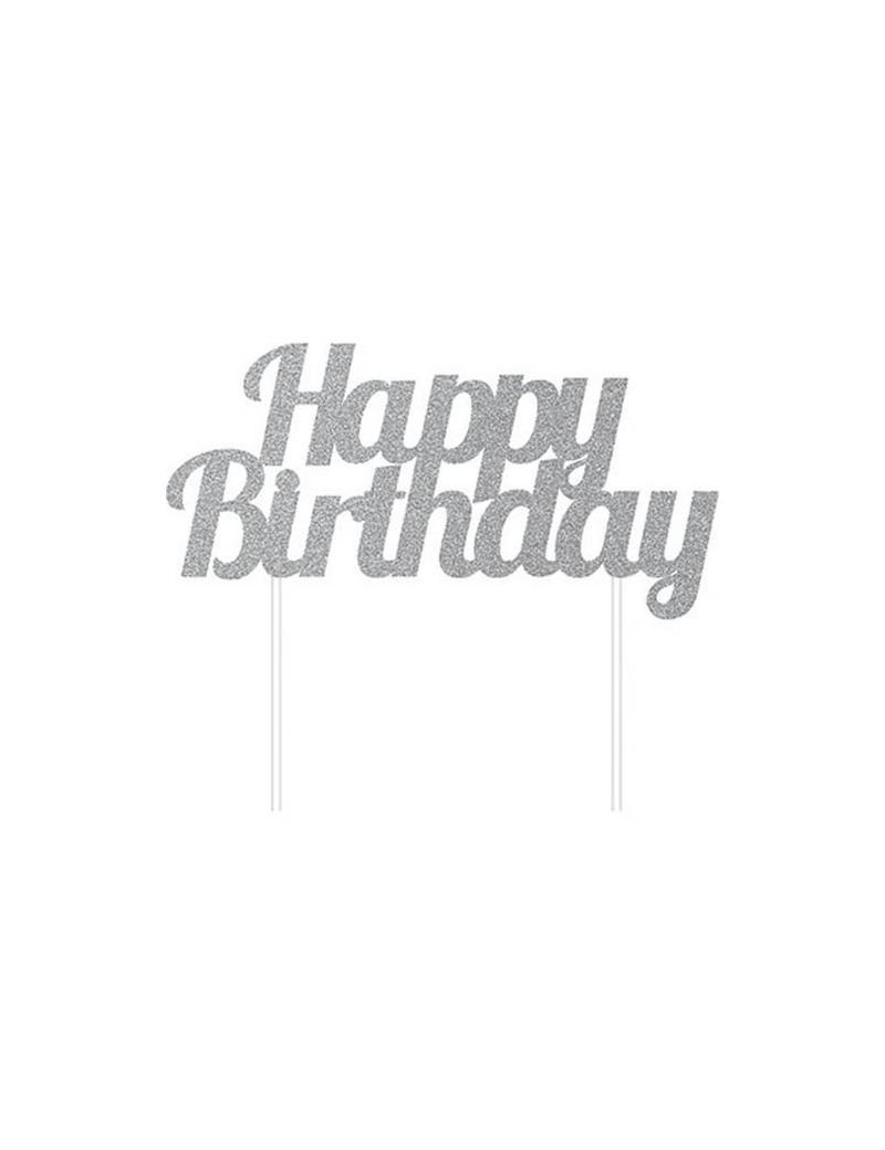 Cake Topper Happy Birthday (Argento)