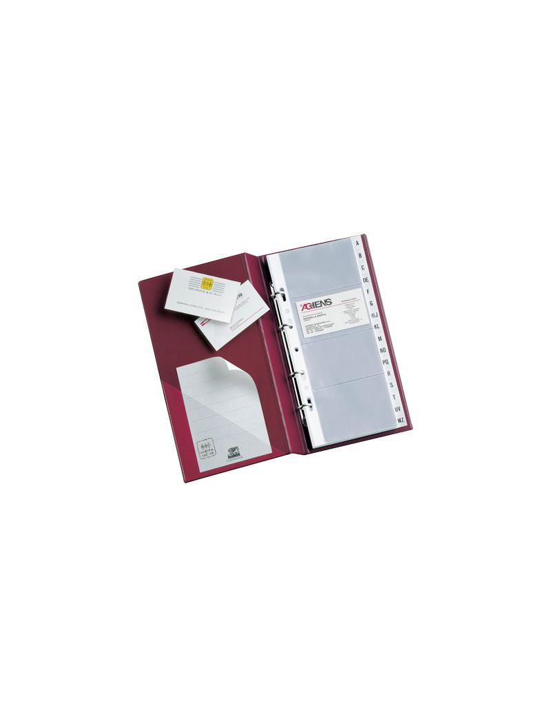 Portabiglietti da Visita MC16 Sei Rota - 4 Anelli - 200 Biglietti - 15x28 cm - 57091710 (Nero)