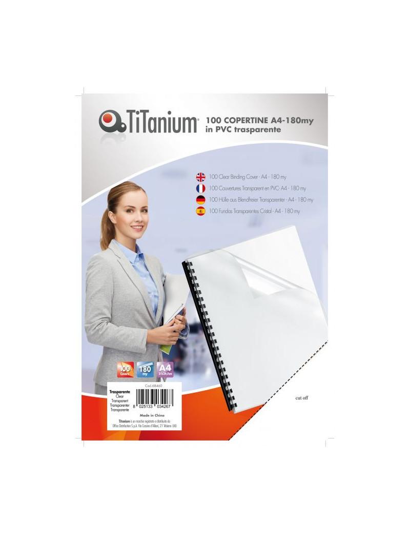 Copertine in PVC per Rilegatura Titanium - A4 Liscia - 180 micron - PB100-06T (Trasparente Conf. 100)