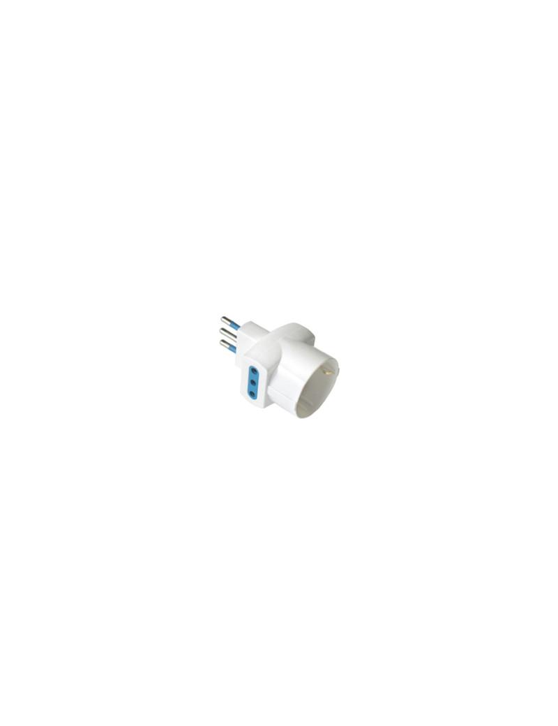 Adattatore di Rete MKC - Spina 10A - 2 Prese 10A, 16A Schuko - 492518036 (Bianco)
