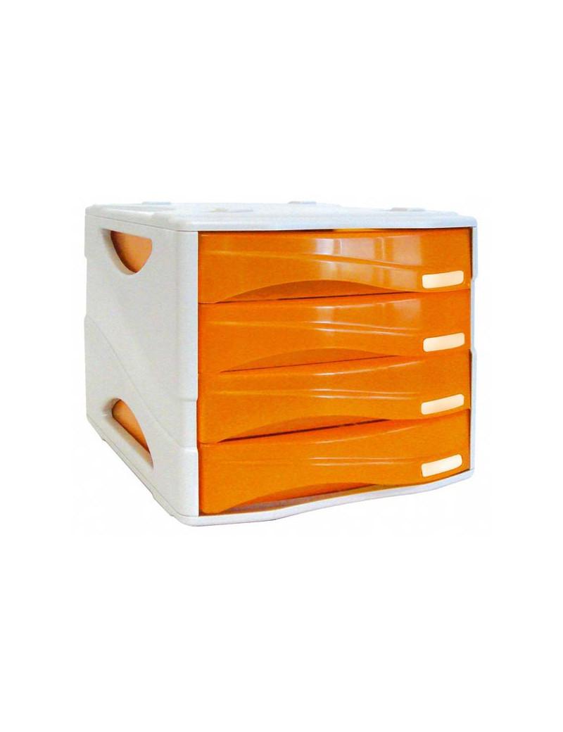 Cassettiera Infrangibile Smile Arda - 38x28,9x25,4 cm - 4 Cassetti (Arancione Traslucido)