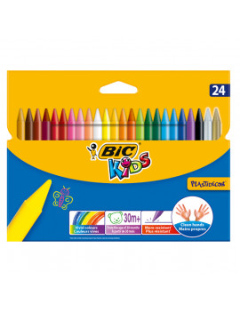 Pastelli a Cera Plastidecor Bic - 8 mm - 8297721 (Assortiti Conf. 24)