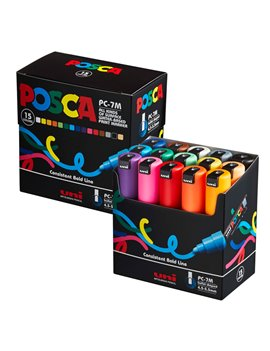 Marcatore Uni Posca a Tempera PC7M Uni-Ball - Tonda - 4,5-5,5 mm - M PC57M 15C (Assortiti Conf. 15)