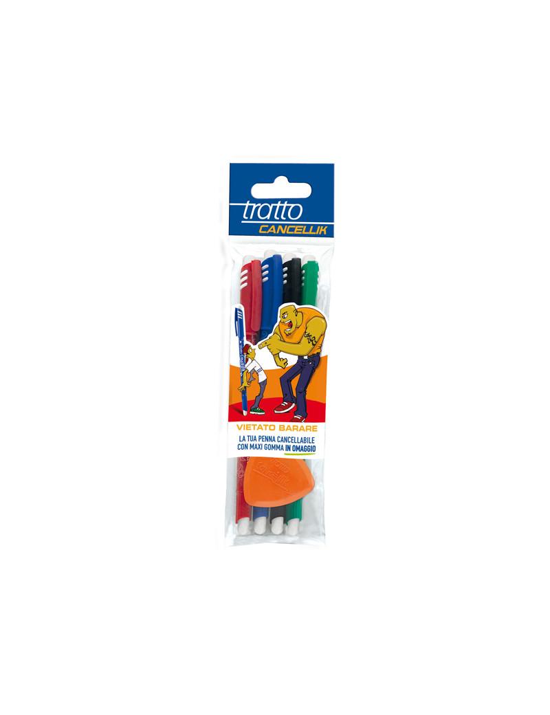 Penna a Sfera Cancellabile Tratto Cancellik Fila - 1 mm - 042300 (Assortiti Conf. 4)
