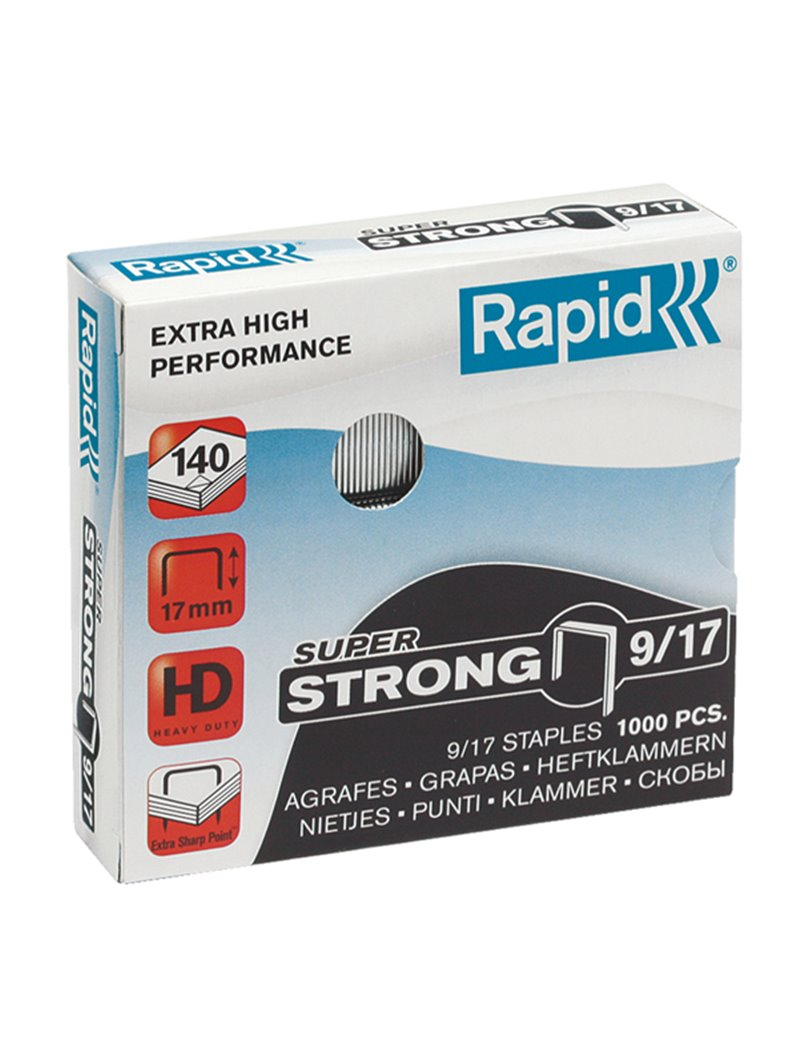 Punti Metallici per Cucitrice Super Strong Rapid - 9/17 - 24871600 (Conf. 1000)
