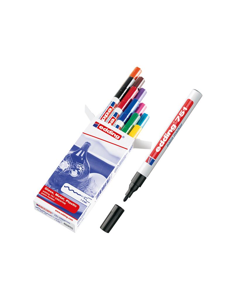 Marcatore Permanente a Vernice 751 Edding - Punta Tonda - 1-2 mm - E-751 003 (Blu)
