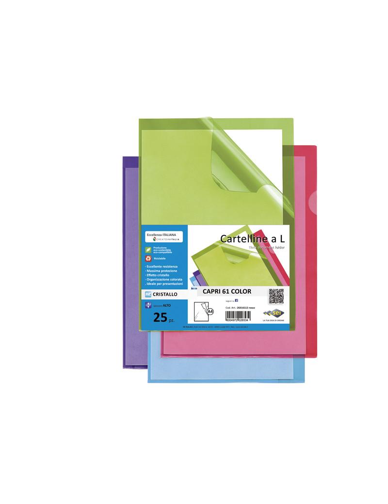 Busta a L Capri 61 Sei Rota - A4 - PVC - 26316103 (Azzurro Conf. 25)