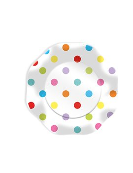 Piatti in Carta Plastificata Pois Big Party - 18 cm - 61683 (Conf. 10)