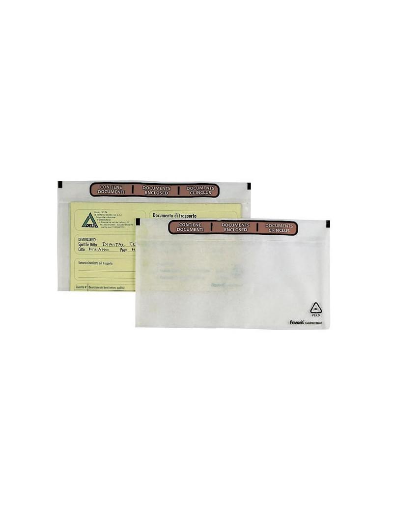 Busta Adesiva Portadocumenti Speedy Doc LD Favorit - Contiene Documenti - 23x11 cm - 100500102 (Trasparente Conf. 100)