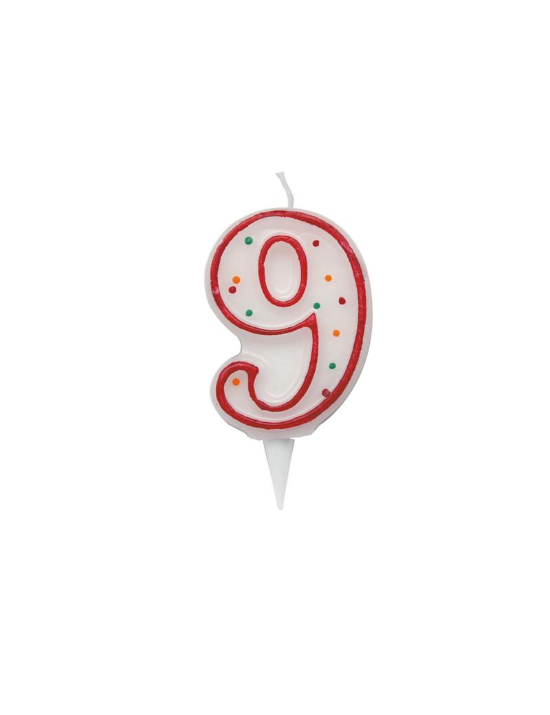 Candelina per Torta Big Party - Numero 9 - CC06039 (Multicolor)
