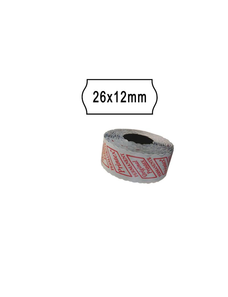 Etichette per Prezzatrice Smart 8/2612 Printex - Removibili - 26x12 mm - 2612SBR10 (Bianco Conf. 10)
