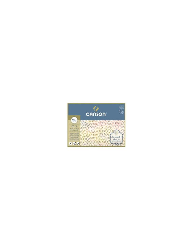 Blocco Acquarell Canson - 23x31 cm - 300 g - 20 Fogli - Grana Fine - 400106440 (Bianco Caldo)