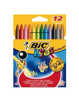 Pastelli a Cera Plastidecor Kids Bic - 8 mm - 945764 (Assortiti Conf. 12)