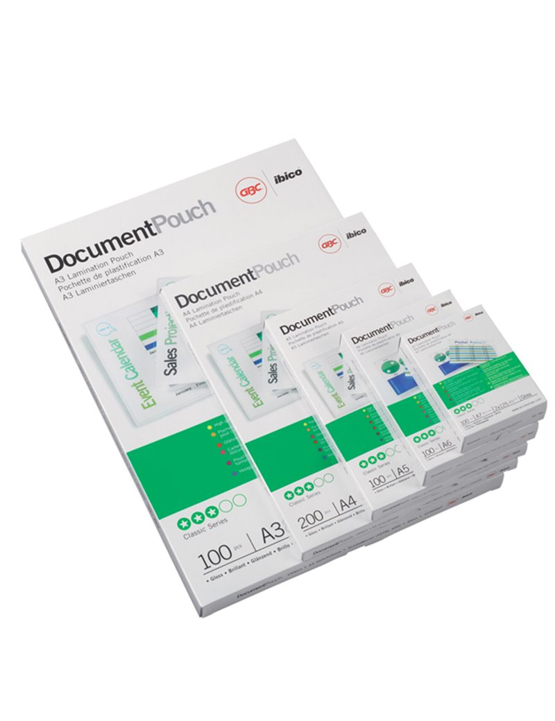 Pouches per Plastificatrici GBC - A5 Lucida - 125 micron - 3200749 (Trasparente Conf. 100)