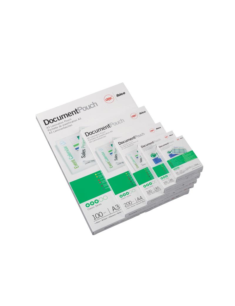 Pouches per Plastificatrici GBC - A4 Lucida - 125 micron - 3200723 (Trasparente Conf. 100)