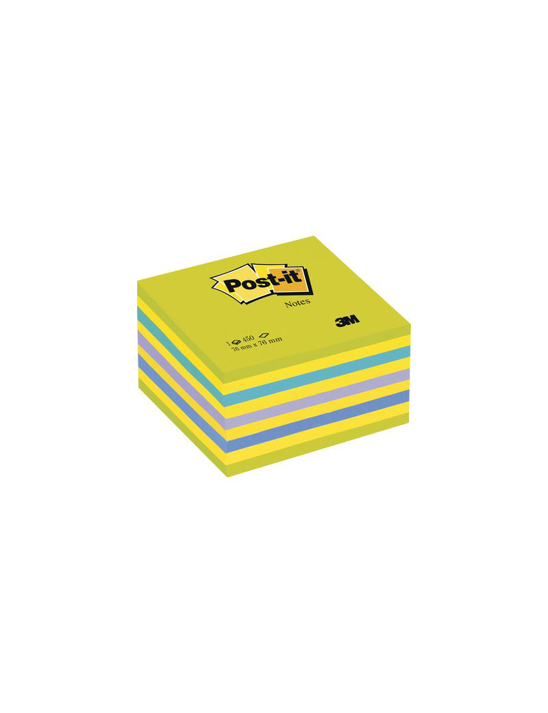 Cubo Post-it 3M - 76x76 mm (2 Verde Ultra, 4 Giallo Neon, Blu Ultra, Viola Neon, Blu)