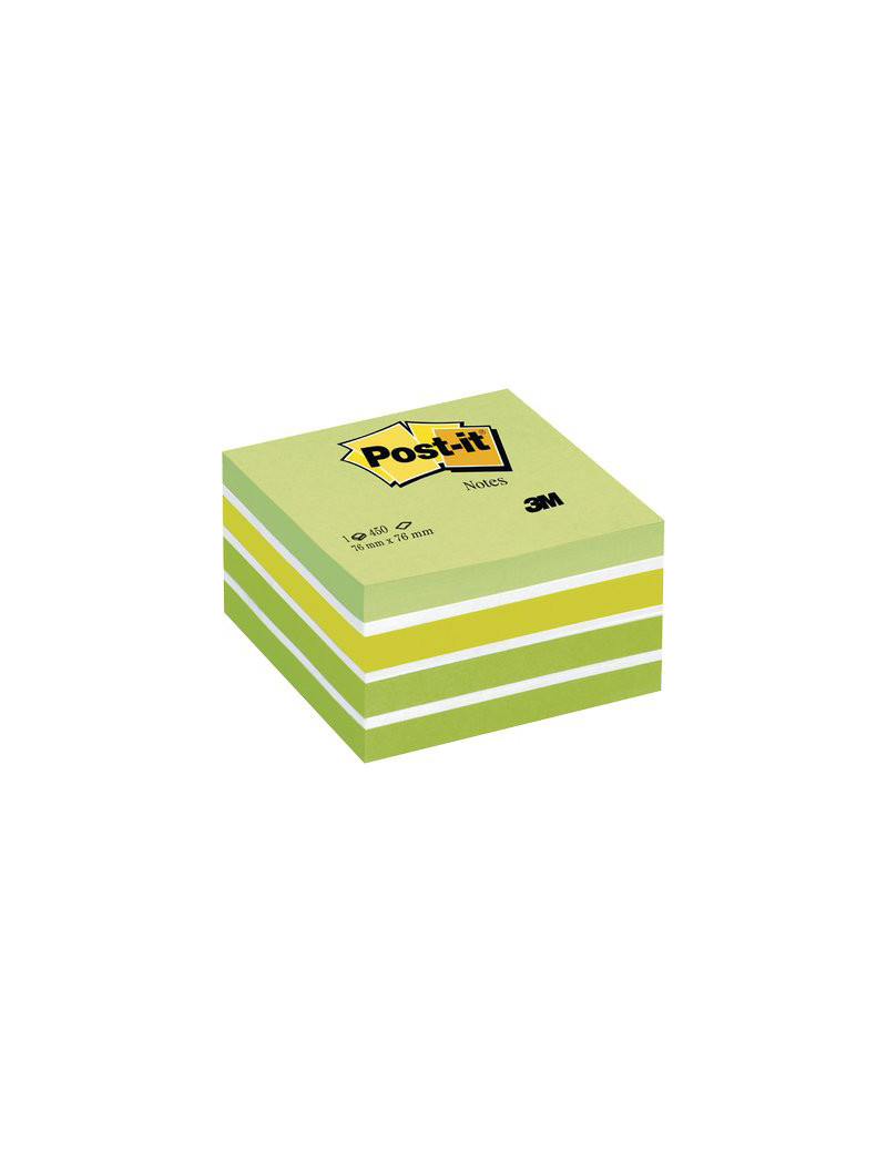 Cubo Post-it 3M - 76x76 mm (Verde Pastello, Verde Neon, 2 Verde Ultra, 3 Bianco)