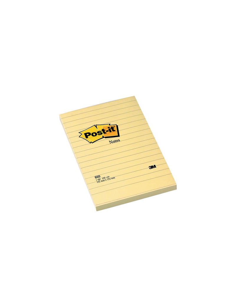 Post-it Large Note 3M - 102x152 mm - 70208 (Giallo Canary a Righe Conf. 6)