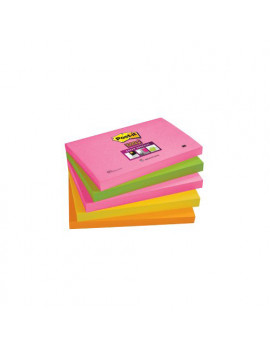 Post-it Super Sticky Neon 655S-N 3M - 76x127 mm - 74158 (Arancione Rosa Verde Corallo e Giallo Oro Conf. 5)