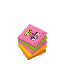 Post-it Super Sticky Neon 654S-N 3M - 76x76 mm - 75409 (Arancione Rosa Verde Corallo e Giallo Oro)