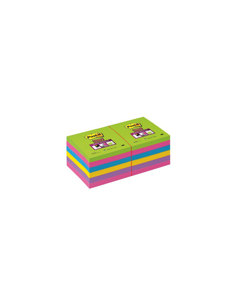 Post-it Super Sticky Ultracolor 654-12 3M - 76x76 mm - 20556 (Turchese Malva Girasole Fucsia e Lime Conf. 12)