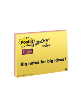 Post-it SuperSticky Meeting Note Large 3M - 200x149 mm (Assortiti Conf. 4)