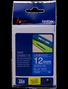 Nastro Originale Brother TZe-535 - 12 mm x 8 m - Laminato (Bianco su Blu)