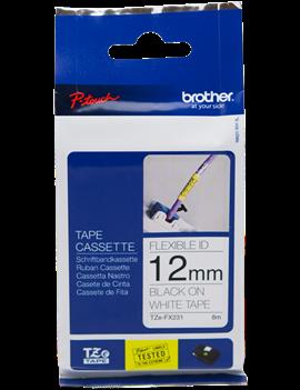 Nastro Originale Brother TZe-FX231 - 12 mm x 8 m - Laminato (Nero su Bianco)