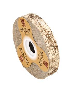 Nastro Bifacciale per Regali Woodly Bolis - 24 mm x 100 m - 51282421044 (Corteccia e Avorio)