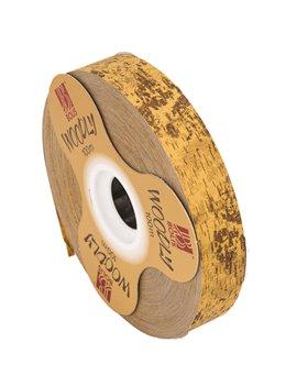 Nastro Bifacciale per Regali Woodly Bolis - 24 mm x 100 m - 51282421028 (Corteccia Marrone Chiaro)