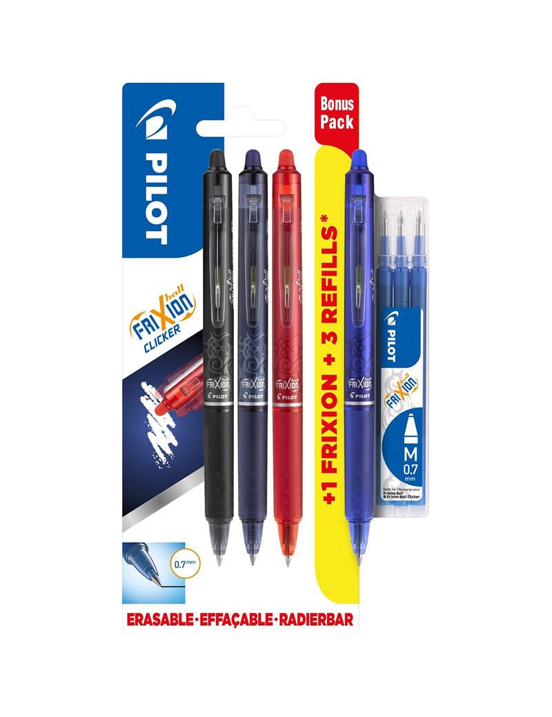 Penna a Sfera a Scatto Cancellabile Frixion Ball Clicker Pilot - 0,7 mm - 006807 (Conf. 4 Penne e 3 Refill)