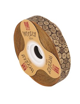 Nastro Bifacciale per Regali Woodly Bolis - 24 mm x 100 m - 51282421060 (Tronchi)