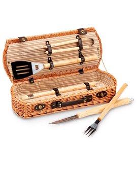 Set Barbecue Garden Friend - Valigetta in Vimini - C951033 (Marrone)