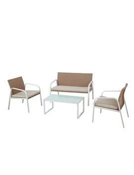 Set Salotto per Esterni Madeira Garden Friend - S1304401 (Conf. 4 Bianco e Beige)