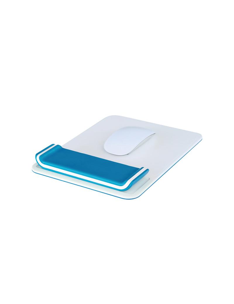 Tappetino Mouse con Poggiapolsi Ergo WoW Leitz - 65170036 (Bianco e Blu)