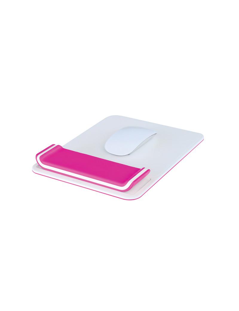 Tappetino Mouse con Poggiapolsi Ergo WoW Leitz - 65170023 (Bianco e Fucsia)