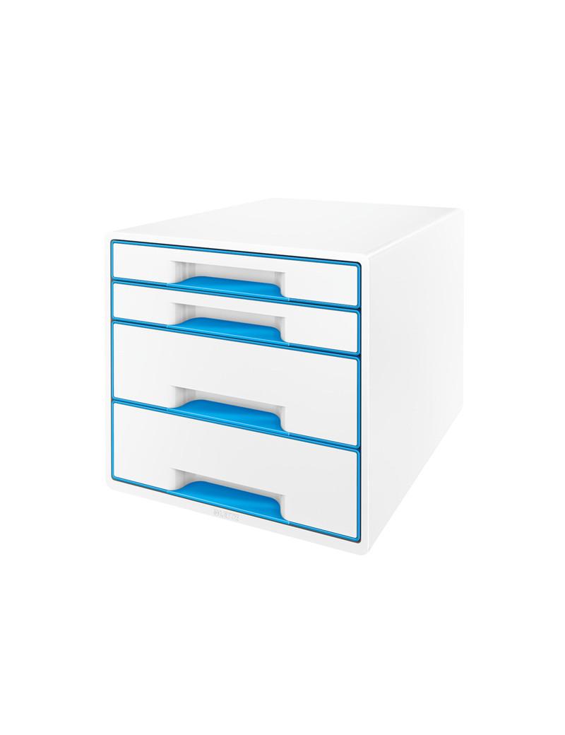 Cassettiera Drawer Cabinet Cube 4 Leitz - 28,7X27,36,3 cm - 4 Cassetti - 52132036 (Bianco e Azzurro)