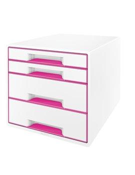 Cassettiera Drawer Cabinet Cube 4 Leitz - 28,7x27x36,3 cm - 4 Cassetti - 52132023 (Bianco e Fucsia)