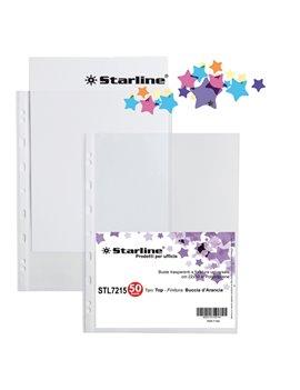 Busta a Perforazione Universale Top Starline - 22x30 cm - Goffrata Alto Spessore (Trasparente Conf. 50)
