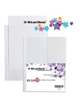 Busta a Perforazione Universale Top Starline - 22x30 cm - Liscia Alto Spessore (Trasparente Conf. 50)