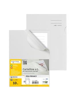 Cartellina a L in PPL Poli Privacy Sei Rota - 23,2x32,2 cm - 662400 (Bianco Opaco Conf. 10)