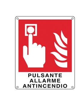 Cartello di Segnalazione - Pulsante Allarme Antincendio - 120x145 mm - E20174K (Rosso)