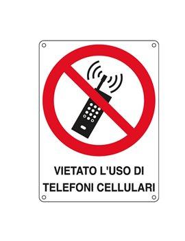 Cartello di Divieto - Vietato L'Uso di Telefoni Cellulari - 166x233 mm - E623801W (Rosso e Bianco)