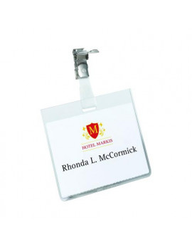 Badge in PVC con Clip in Metallo Durable - 6x9 cm (Trasparente Conf. 5)